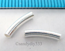 10x BRIGHT STERLING SILVER CURVE TUBE SPACER BEADS 10mm 2mm w/ 1.2mm hole #1774