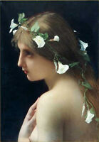 Hand painted Oil painting Jules- Joseph Lefebvre - Girl Nymph with Morning Glory