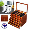 6 Layers LARGE Wooden Jewellery Box Organizer Storage Ring Necklace Display
