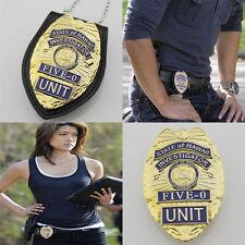 US Hawaii Five-0 Badge Hawaii 5 o Badge & Chain Belt Leather Badge Holder