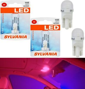 Sylvania Premium LED light 194 Red Two Bulbs Interior Map Replacement Stock Fit