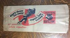 Antique Vintage CAT'S PAW Shoe Repair Advertising Bag Rubber Heels and Soles NOS