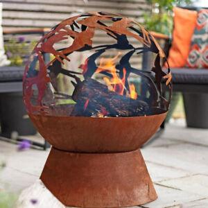 La Hacienda Swallows Globe Fire Pit Patio Heater Laser Cut Oxidised Steel Gar...