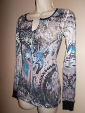 Daytrip Womens Size XS Multi-Color Geometric Sparkly Knit Top Long Sleeves