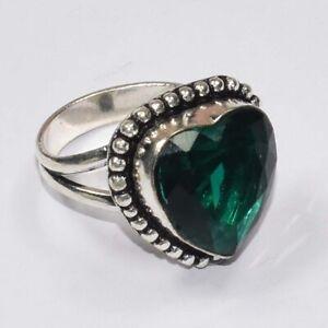 Heart Green Tourmaline Ethnic Gemstone Handmade Gift Jewelry Ring Size - 7.5