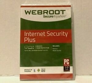 Antivirus Software PC Mac Smartphone 3 Devices Webroot Internet Security Sealed