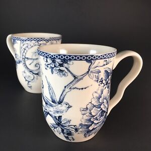 2 Bird Coffee Mugs Floral Cups 222 Fifth Adelaide Blue Porcelain Curvy Handles