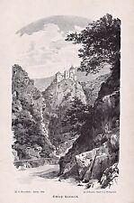 Bozen, Karneid, Italy, Südtirol - Ansicht der Burg - Stich, Holzstich von 1894