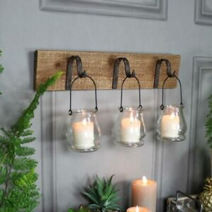 Rustic wall mounted hook glass jar lantern tealight candle holder vintage gift