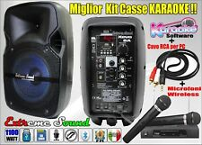 2 CASSE KARAOKE 1100W BLUETOOTH radio FM + RADIOMICROFONI PC SOFTWARE XEVO-8 KIT