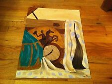 vintage oil on canvas board painting Chianti Cowboy Riding Horse Blanket clock