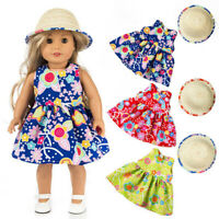 Clothes Dress With Hat For 18 inch American Girl Doll Accessory Girl Toy