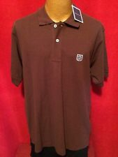 NWT DUNNING Burgundy Short Sleeve 100% Polo Golf Shirt Size L