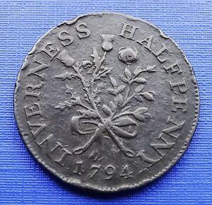 Scotland 1794 Inverness Halfpenny Token, MacKintosh, Inglis Wilson, DH#2, ~#1080