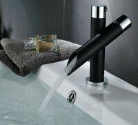 Kitchen Unique Single Handle Black Bathroom Bath Basin Sink Mixer Tap Waterfall