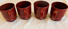 Vintage Tupperware Coffee Tea Mug Set 4 Stackable BURGUNDY #22248