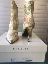 New  Casadei Gold Brocade Boots Gold Heel Msrp $1250 Size 10