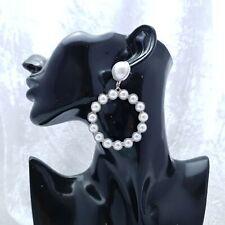 Silver Pearl Hoop Earrings. Large hoop, great quality - boxed