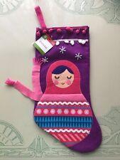 CHRISTMAS Stocking Angel Pink & Purple Decorative Russian Doll NWT