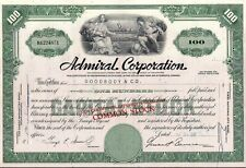 Admiral Corporation stock certificate 100 shares