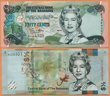 BAHAMAS 2001,2019 2 x UNC 1/2 0.5  Dollar Banknotes Paper Money Bills P- 68,NEW