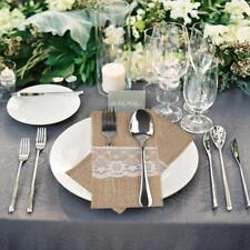 10 Pieces 4x8 Inch Lace Trimmed Burlap Silverware Holders Wedding Party Holiday