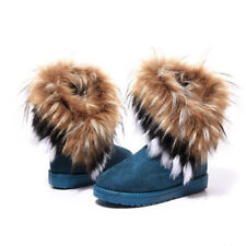 US Women's Winter Casual Warm Suede Faux Fur Short Snow Boots Platform Shoes SZ