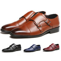 Men Leather Oxfords Monk Strap Brogue Shoes Dress Formal Shoes Casual Loafers