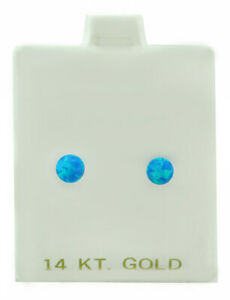 GENUINE 0.86 Cts BLUE OPAL STUD EARRINGS 14k WHITE GOLD *** New With Tag ***