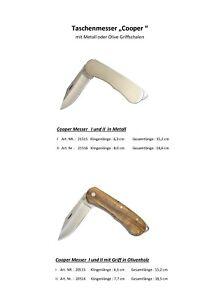 Taschenmesser der Marke Pius Lang,Typ Cooper mit Griffschale in Metall und Olive