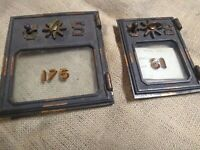 2 VTG Antique Cast Solid Brass + glass Post Office Box Door AMPO LG & small
