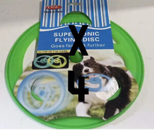 4 X DOG FRISBEE  GLOW IN THE DARK OUTDOOR TRAINING INTERACTIVE FLYING DISC TOY