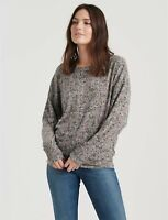 Lucky Brand NEW $60 Sz S Long Sleeve Floral Cloud Jersey Smocking Top Gray Pink
