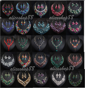 Vintage Women Crystal Necklace Earring Set Statement Bridal Party Jewelry Sets