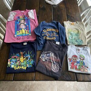 Vintage Kids Clothing Lot Of 6 T-shirts And Sweatshirt 3D Emblem 70s 80s 90s