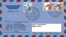 Aerogramm Schiffspost MS EUROPA Flug ü. Nordpol Kreuzfahrt Alaska - Panama 1988