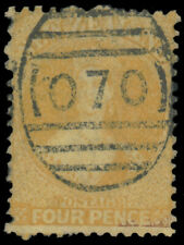 NEW ZEALAND 1865 4p YELLOW PERF 12½ LARGE STAR WMK USED #35 thin on bottom $130.