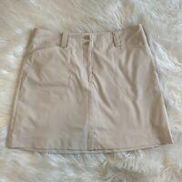 Nike Golf Skort Women's Size 12 Dri-Fit Skirt Shorts Cream Zip Pockets EUC