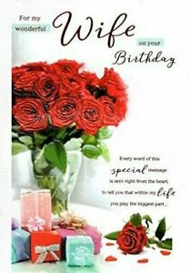 For my Wonderful Wife birthday card  Red Roses