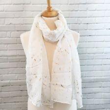 Pretty White Gold Foil Brush Strokes Summer Pashmina Scarf Wrap Sarong