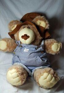 Furskins tan Teddy Bear plush animal Xavier Roberts striped overalls brown hat