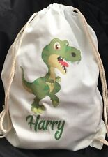 Personalised Childrens Dinosaur Gym/ PE/ Dance Bag 100% cotton