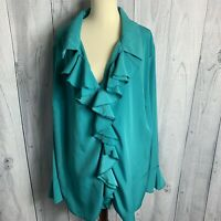 Romans Womans Ruffle Button Front Top Blouse Plus Size 26W Green Bell Cuffs