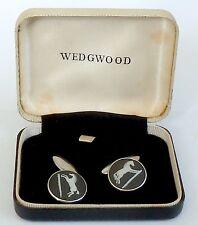 Un par de Wedgwood Vintage Plateado Y Negro Cadena Enlace Gemelos Jasperware Caballo
