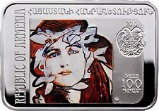 2010 Armenia 100 dram Painters of the World Axentowicz Teodor Proof Silver Coin