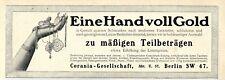 Ratenzahlung für Goldschmuck eingeführt Corania Künstler-& Markenwerbung v. 1912