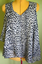 Ladies Womens Sleeveless V Neck Loose Fit  Chiffon Top Animal Print Temt Size 10