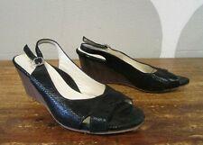 New listing Tayrn Rose Italy Womens Black Italian Reptile Embossed Slingback Wedge Shoe 36.5