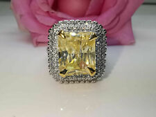 4Ct Emerald Cut Yellow Citrine Double Halo Engagement Ring 14k White Gold Finish