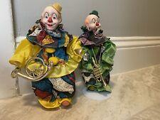 "Porcelain clown dolls 8"" on stand.porcelain head hands Rare Vintage Collectible"